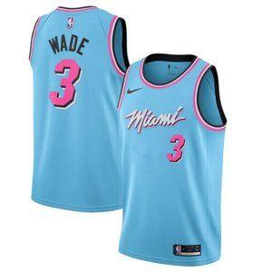 NBA Dwyane Wade Miami Heat Throwback Blue City #3